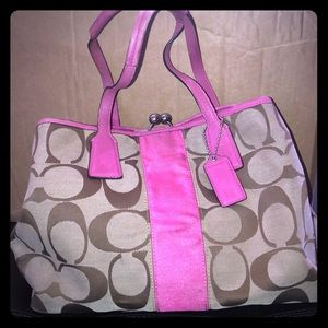 Coach Brown Monogrammed w/ Pink Accents Purse